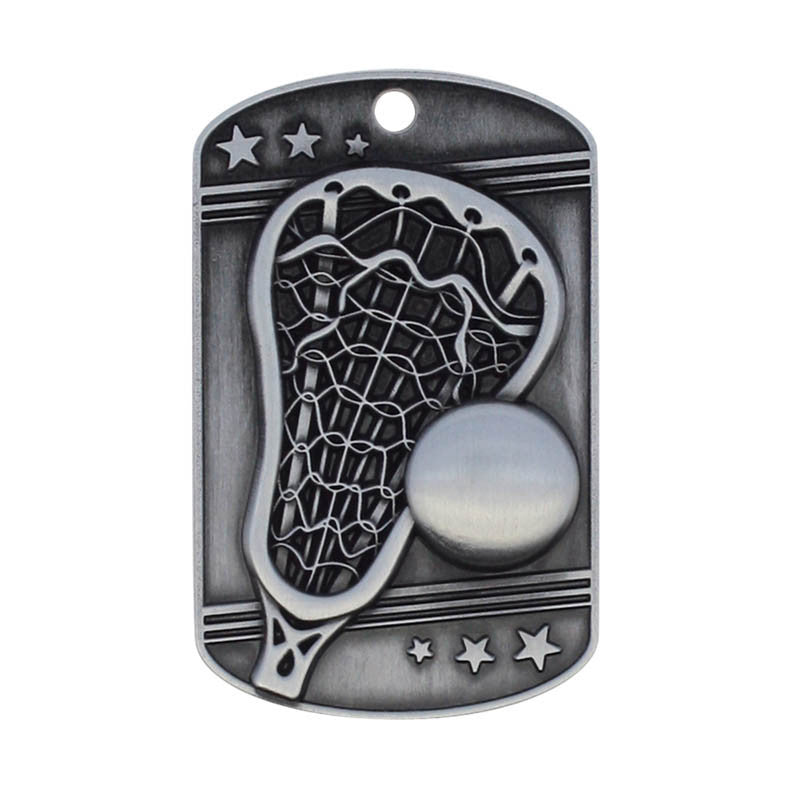 Lacrosse Dog Tag Key Chain Silver