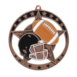 "Medal Star Football 2.75"" Dia. Bronze"
