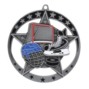 "Medal Star Hockey 2.75"" Dia. Silver"