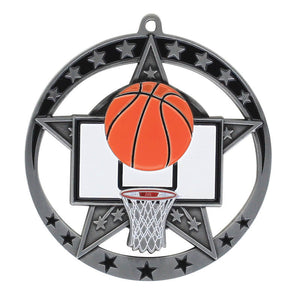 "Medal Star Basketball 2.75"" Dia. Silver"