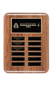 Solid Walnut Perpetual Plaque, 12 Plates (plates included)