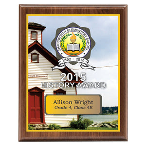 "Classic Series Walnut Plaque with Sublimated Plate 10.5""x13"""