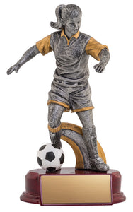 Resin Classic Female Soccer Silver/Gold 8.5""