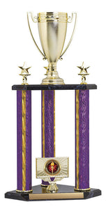 3 post Trophy Kit w Classic Cup Top Figure, Purple/Gold Blaze 22""