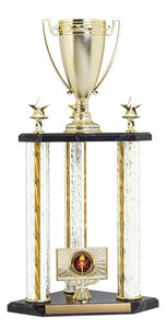 3 post Trophy Kit w Classic Cup Top Figure, Silver/Gold Blaze 22""