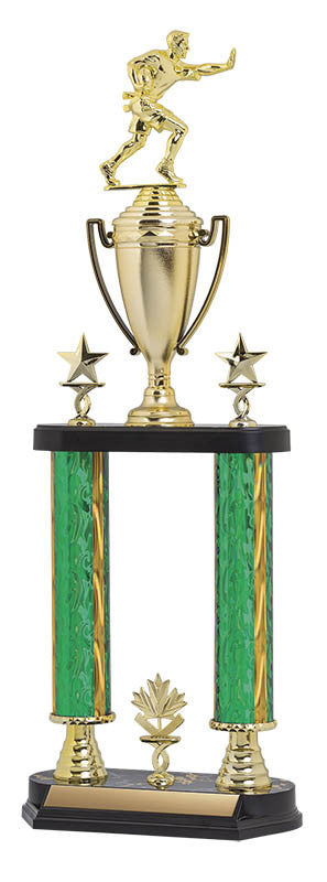2 Post Trophy Kit Green/Gold Blaze w Classic Cup Fig on RSB Black Base, 9