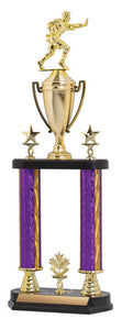 2 Post Trophy Kit Purple/Gold Blaze w Classic Cup Fig on RSB Black Base, 9""
