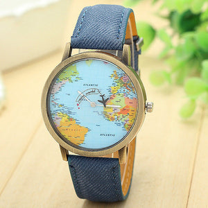 Global Travel By Plane Map Casual Denim Quartz Watch for Men Women