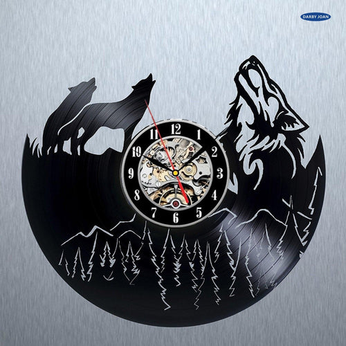 Wolf Pictures Vinyl Record Wall Clock  - Gift ideas for Men and Women