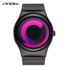 SINOBI Brand New Creative Rotation Men Watches 2017 Stainless Steel Mesh Strap Quartz Sport Watch Men Fashion Relogio Masculino