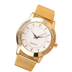 Fashion Women Crystal Golden Stainless Steel Analog Quartz Wrist Watch