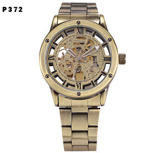 Mens Steampunk Skeleton Automatic Mechanical Retro Bronze Antique Leather Self Winding Wrist Watch
