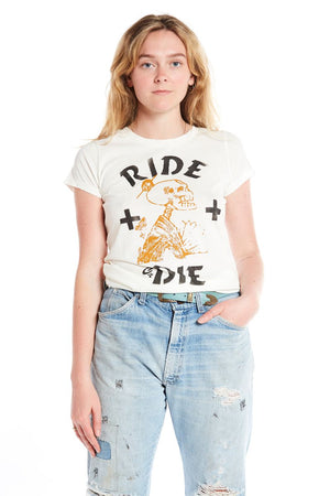 short sleeve cotton crew neck t-shirt with hand screened and stenciled ride or die graphics in black and gold. styled with vintage roebucks denim jeans