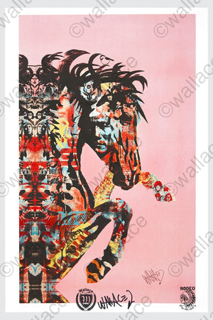 pop art wallace poster print of bucking horse on pink background. Pop art collection