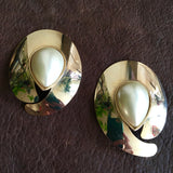 Golden Pearl XL Post Earrings