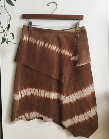 Tie Dyed Suede Asymmetrical Skirt