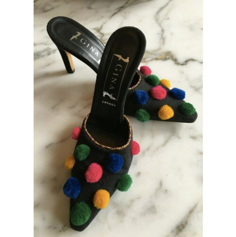 Gina Of London Pointy Pom Pom Mules