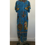 Tutankhamen Egyptian Gods Long Blue Caftan Dress