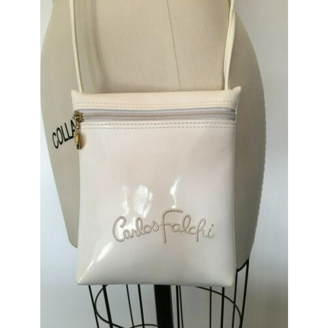 Carlos Falchi White Patent Crossbody Bag