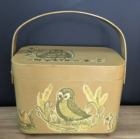 50s Wooden Painted Owl Mushroom Box Mini Purse