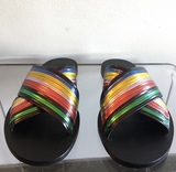 Tomas Maier Rainbow Metallic Leather Flat Sandals