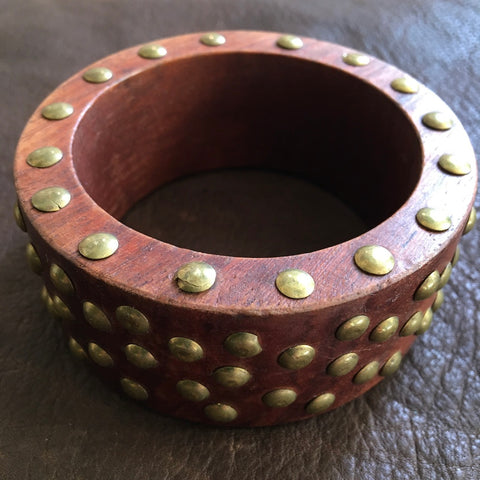 Chunky Wooden Bangle with Brass Studs
