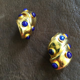 Twisted Gold and Blue Clip Earrings