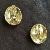Gold Scale Oval Earrings