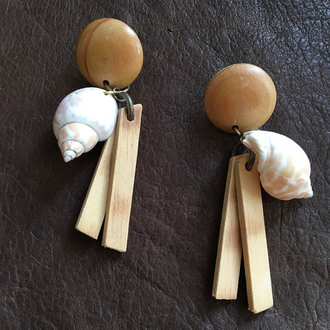 Shell and Wood  Long Statement Earrings