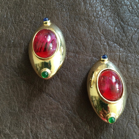 80s Oval Regal Gold Earrings