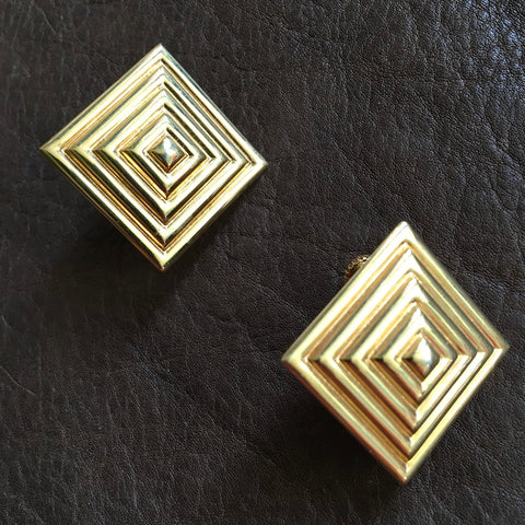 Gold 3D Pyramid Earrings