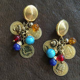 Coin and Bead Dangle Earrings