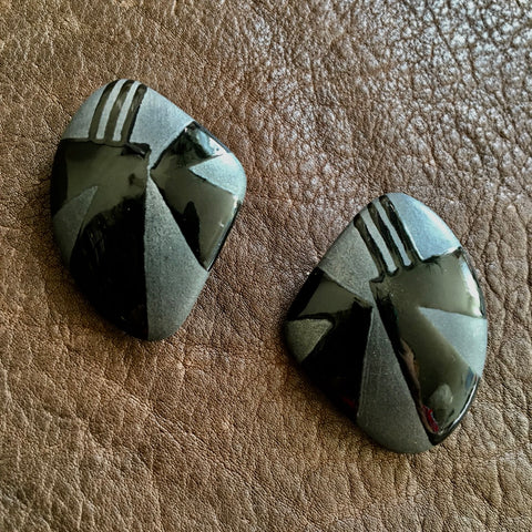 Black Glazed Ceramic Stud Earrings