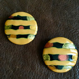 Striped Golden Enamel Disc Earrings