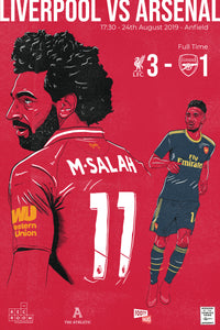 Liverpool vs Arsenal Aug 24 2019 Matchday Poster
