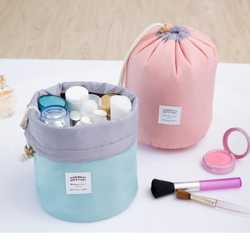High Quality Barrel Shaped Travel Cosmetic Makeup Bag