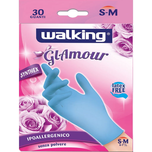 30 Guanti Anallergici in Lattice Sintetico Glamour Walking