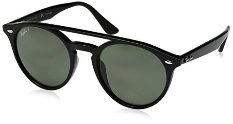 Ray-Ban Injected Unisex Polarized Round Sunglasses, Black, 51 mm