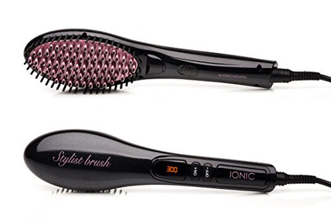 Straightening Brush Fast Natural Straight Hair Styling professional Ionic Anti Scald straightener Massage Straightening Irons, Detangling Hair Brush SAFE AND EASY(ROSE GOLD & BLACK)
