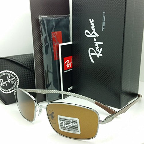 Ray Ban Sunglasses Tech RB 8308 Gunmetal Carbon Fiber Frame Brown Lens