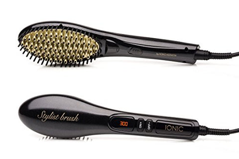 Straightening Brush Fast Natural Straight Hair Styling professional Ionic Anti Scald straightener Massage Straightening Irons, Detangling Hair Brush SAFE AND EASY (BLACK&GOLD)