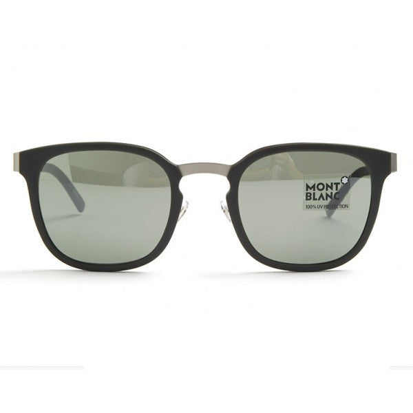 Mont Blanc Rectangle Matte Dark Green Sunglasses For Men