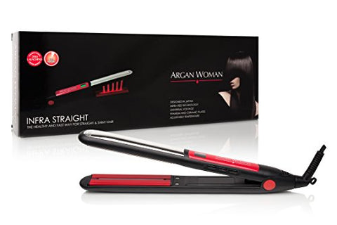 "Argan Woman Professional Infrared Tourmaline 445°F Salon Heat Flat Hair Iron Straightener 1"" infra Red & Dual-Plate Technology TITANIUM (top) CERAMIC (bottom) Creates A Smooth Touch & Low Friction,Lcd - Mall Bloc"