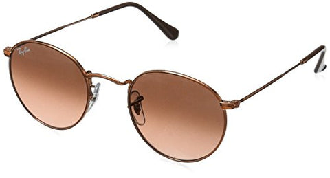 Ray-Ban Metal Round Sunglasses, Shiny Light Bronze, 53 mm