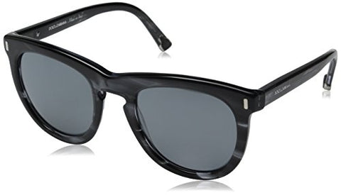 D&G Dolce & Gabbana Women's 0DG4281 Wayfarer Sunglasses, Striped Anthracite, 52 mm