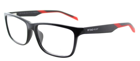 TAG Heuer B-URBAN 0553 C-006 Shiny Black Red Plastic Rectangle Eyeglasses