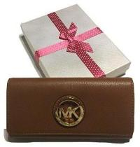 Michael Kors Fulton Flap Leather Clutch Wallet (Luggage)