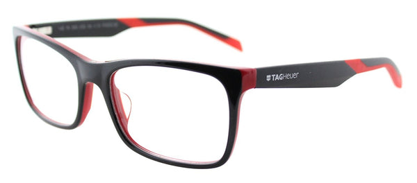 TAG Heuer B-URBAN 0554 C-002 Black Red Plastic Rectangle Eyeglasses - Usa-optical.com