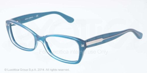 Dolce & Gabbana DG3176 Eyeglasses-2776 Top Crystal On Pearl Petroleum-52mm - Usa-optical.com