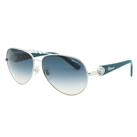 Chopard - SCH 997S, Aviator, acetate/metal, women, SILVER BLACK/GREY BLUE SHADED POLARIZED(579P K), 61/14/135 - Mall Bloc